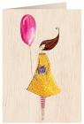 Karnet drewniany C6 + koperta Kobieta z balonem