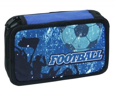 Piórnik dwukomorowy z wyposażeniem Football blue Street Eurocom