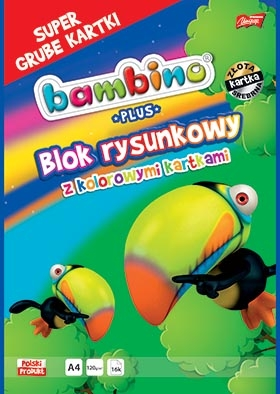 Blok rysunkowy A4/16k z kolorowymi kartkami Bambino