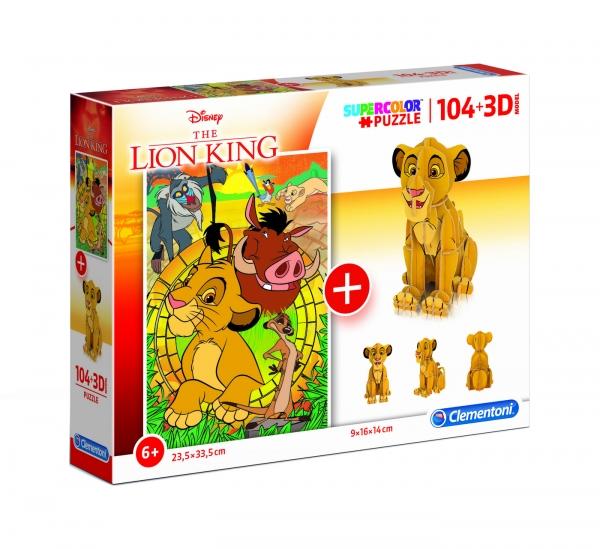 Puzzle SuperColor 104 + 3D model Król Lew (20158)