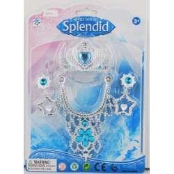 Zestaw dziewczęcy lodowej księżniczki, kolia i diadem na blistrze