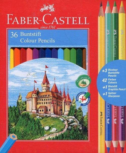 Kredki Zamek, 36 kolorów (+ 3 dwustronne + temperówka)