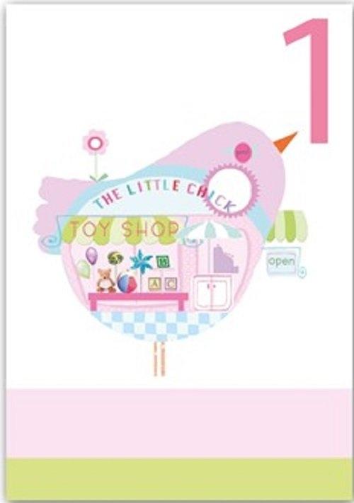 Karnet B6 z kopertą Urodziny 1 dziewczynka