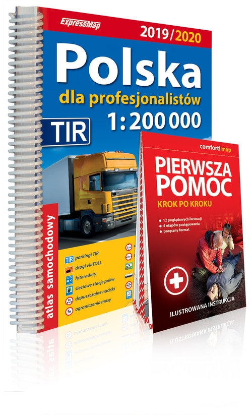 Polska dla profesjonalistów 1:200 000 Atlas samochodowy + instrukcja pierwszej pomocy praca zbiorowa