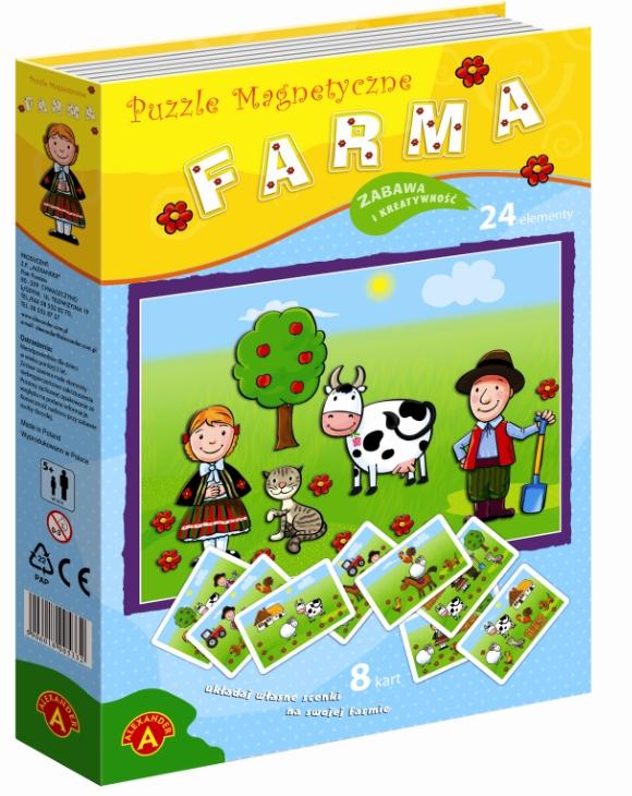 Puzzle magnetyczne 24: Farma (0759) (Zgnieciony kartonik)