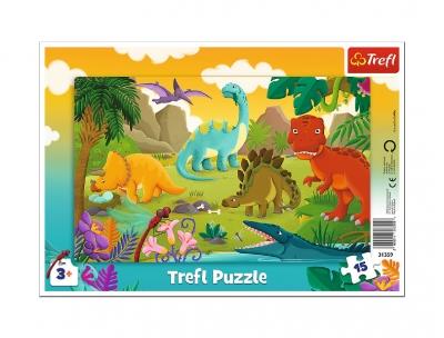 Puzzle ramkowe 15el Dinozaury