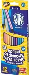 Kredki ołówkowe metaliczne czarne 12 kolorów ASTRA