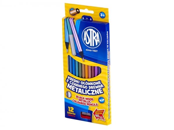 Kredki ołówkowe okrągłe, z czarnego drewna + temperówka, 12 kolorów - metaliczne (312114002)