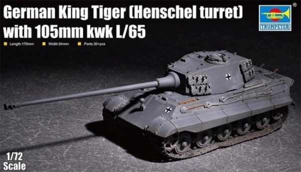 Plastikowy model do skejania King Tiger w/ 105mm kWh (Henschel Turret) (07160)
