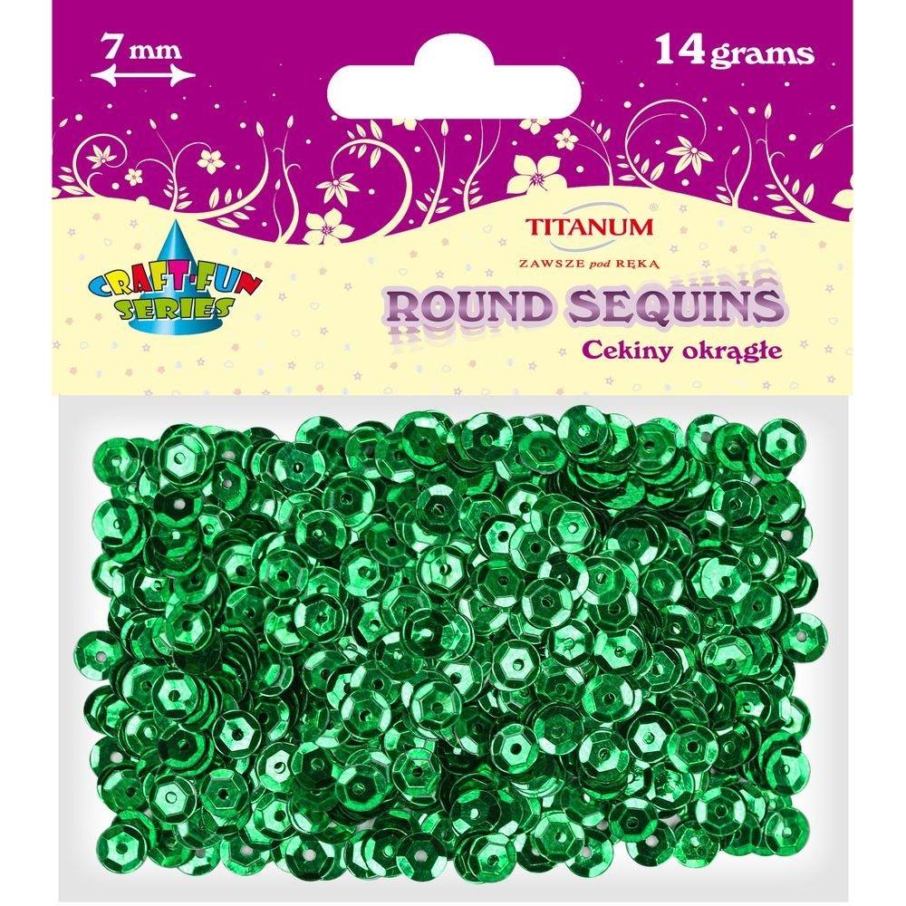 Cekiny okrągłe 7mm 14g - metaliczne zielone (260078)