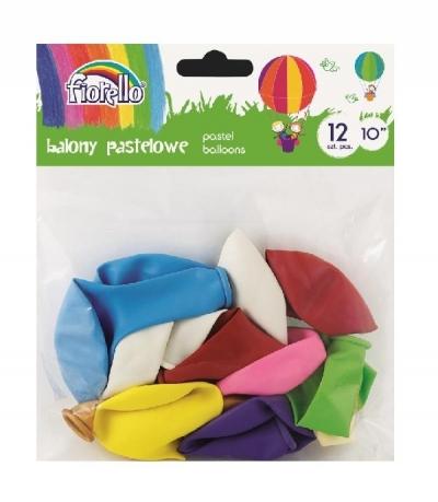Balony Pastel 10'' mix 12 sztuk FIORELLO