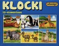 Klocki 12 elementowe Dzikie zwierzęta niebieskie