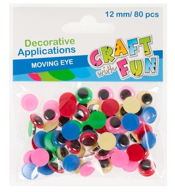 Ozdoba dekoracyjna kolorowe oczy 12mm - 80 szt. (290110)