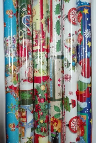 Papier świąteczny BN 100x70 mikołaje, stroiki lub grafika
