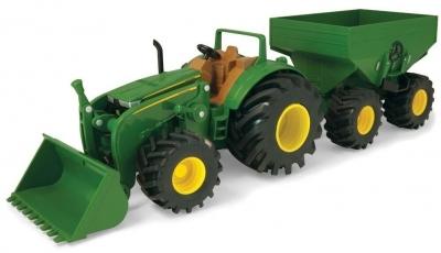 John Deere traktor z przyczepą światło/dźwięk