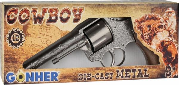 Rewolwer kowbojski metalowy 12 naboi Gonher (15576/0)