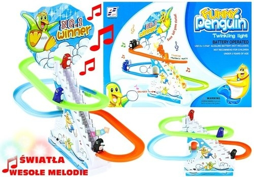 Pingwiny na ruchomych schodach światło melodie