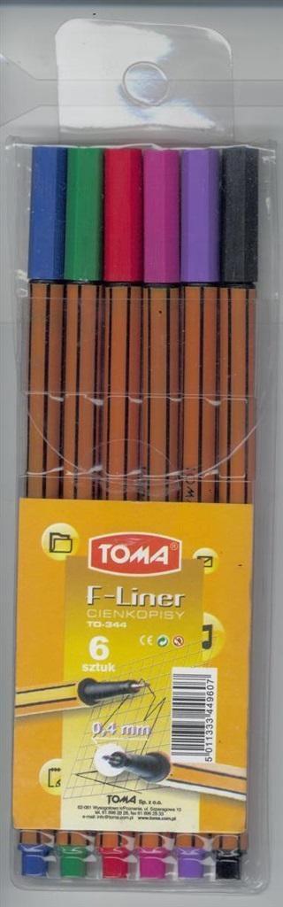 Cienkopis F-Liner 6 kolorów TOMA