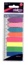 Zakładki indeksujące Neon z linijką 45x12mm STRIGO