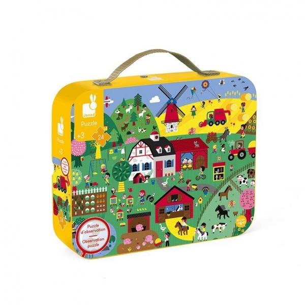 Janod, puzzle obserwacyjne w walizce 24: Farma (J02660) (Uszkodzone opakowanie)