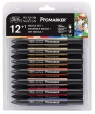 Zestaw pisaków Promarker Winsor & Newton - Manga Set 1, 12 kolorów (0290051)