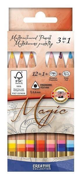 Kredki Magic trio krótkie 12+1 kolorów