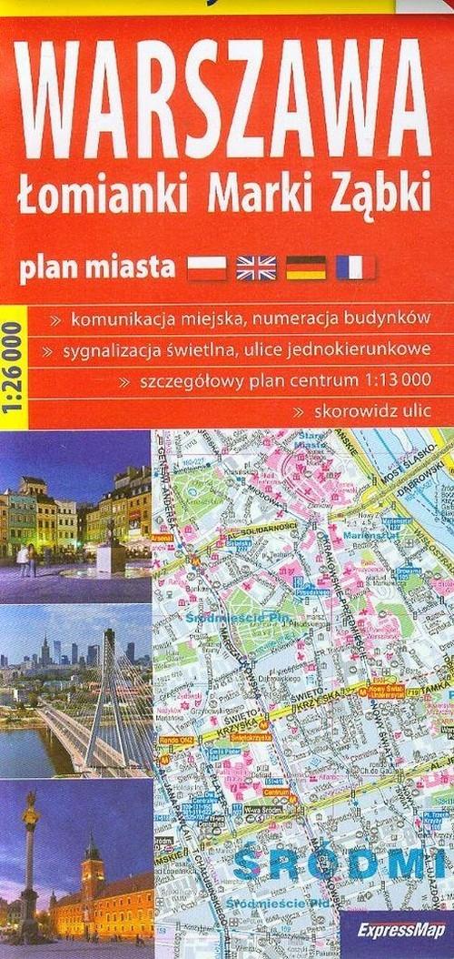 Warszawa Łomianki Marki Ząbki plan miasta 1:26 000