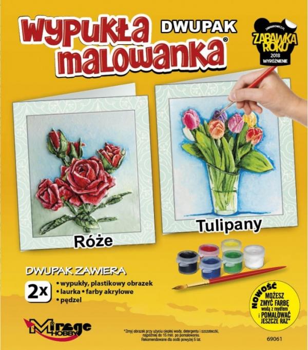 Wypukła malowanka Dwupak Kwiaty Róże-Tulipany (69061)