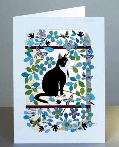 Karnet PM200 wycinany + koperta Czarny kot