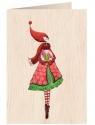 Karnet drewniany C6 + koperta Święta Kobieta ze szklaną kulą
