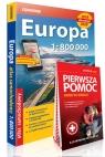 Europa atlas samochodowy 1:800 000 + Pierwsza pomoc - krok po kroku - ilustrowana instrukcja