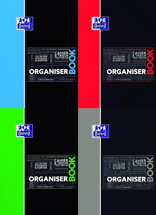 Kołonotatnik A4 Oxford w kratkę 80 kartek Organiser Book mix