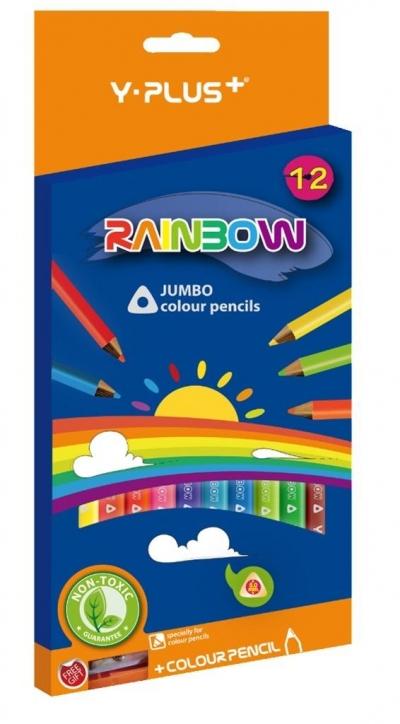 Kredki Jumbo Rainbow + temperówka 12 kol