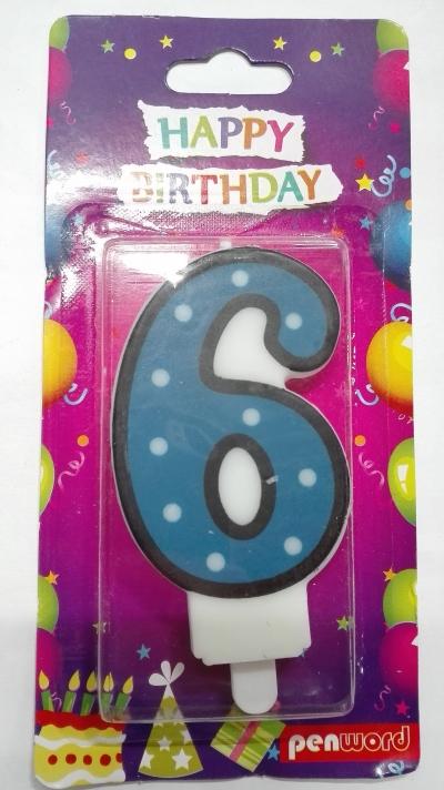 Świeczka urodzinowa - 6 (PTN1-6)