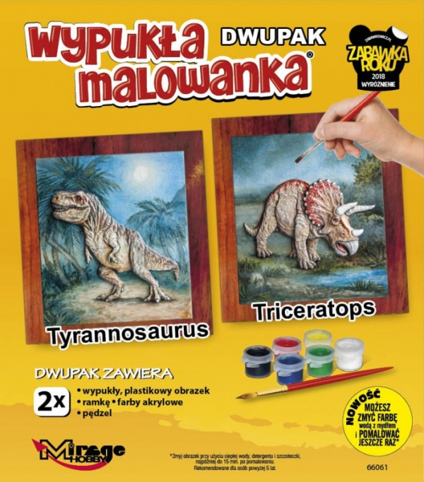 Wypukła malowanka Dwupak Dinozaury Tyrannosaurus-Triceratops (66061)