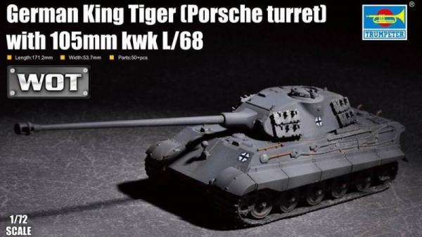 Plastikowy model do sklejania King Tiger w/ 105mm kWh L/68 Porsche Turret (07161)