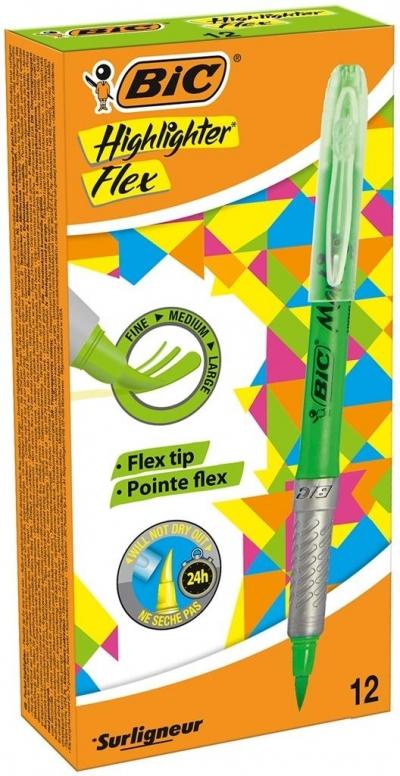 Zakreślacz Highligter flex zielony (12szt) BIC
