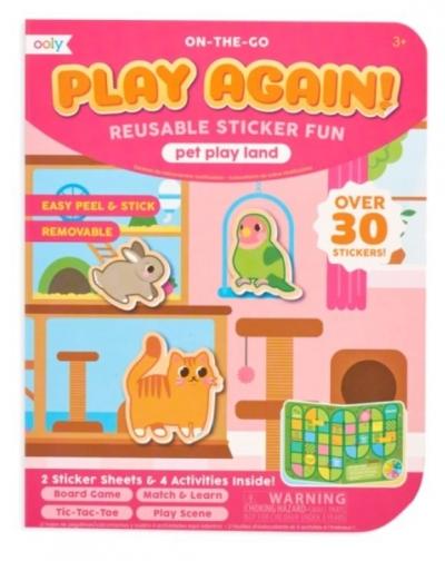 Naklejki wielorazowe mini z grą Play Again Animals