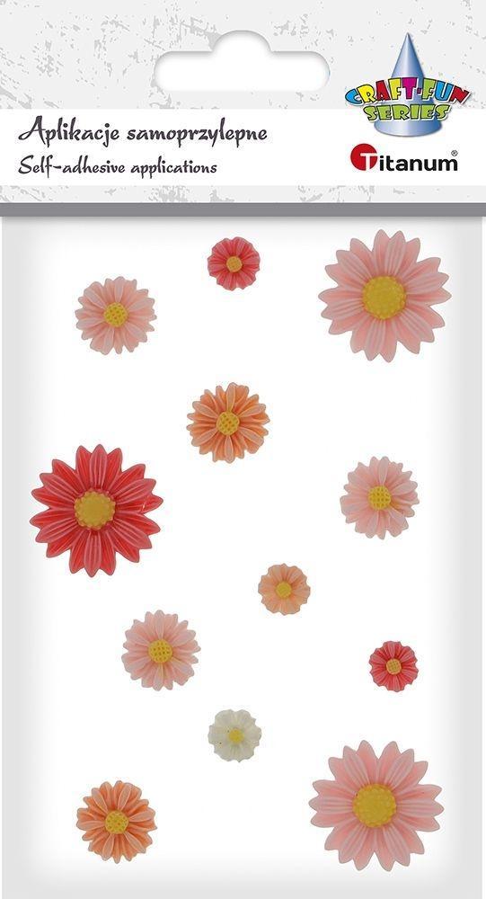 Kwiat Titanum Craft-fun samoprzylepny z żywicy 12 szt.