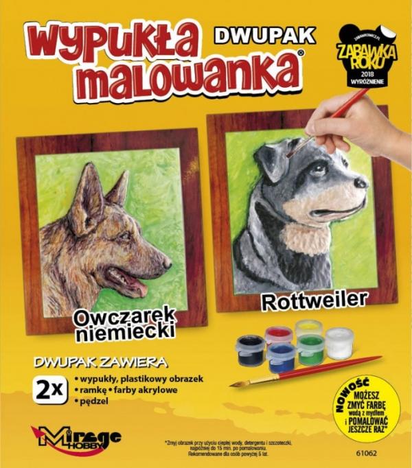 Wypukła malowanka Dwupak PSY Owczarek niemiecki-Rottweiler (61062)