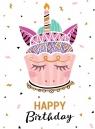 Karnet Urodziny 15x15cm - Tort Unicorn