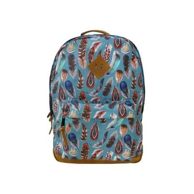 Plecak dwukomorowy niebieski Pióra