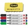 Markery Toma do tablic suchościeralnych, 4 kolory + gąbka (TO-26604)