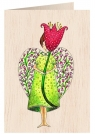 Karnet drewniany C6 + koperta Anioł z kwiatem