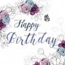 Karnet Swarovski kwadrat Urodziny kwiaty (CL1407)