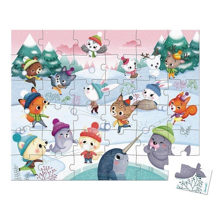Puzzle w walizce Zabawa na śniegu 36 elementów (J02662)