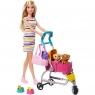 Barbie: Spacerówka z pieskami. Zestaw z lalką Barbie, 2 szczeniaczkami i