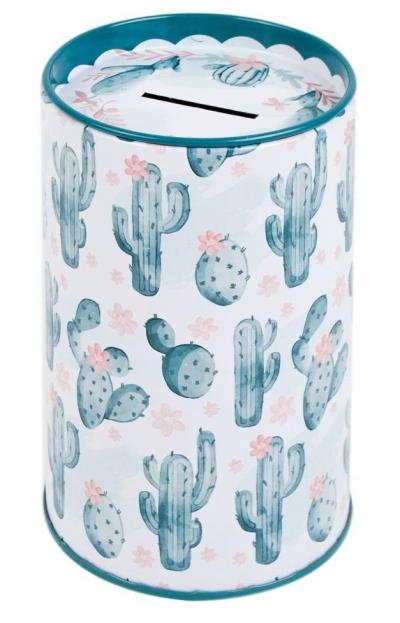 Skarbonka metalowa okrągła - Kaktus