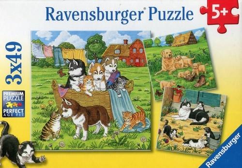 Puzzle 3x49 Słodkie pieski i kotki