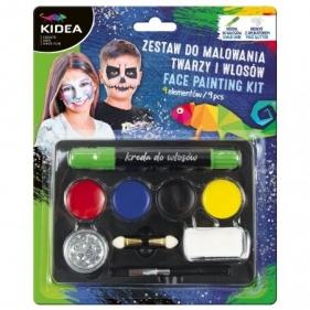 Zestaw do malowania twarzy i włosów Kidea, 9 elementów (ZMTWKA)